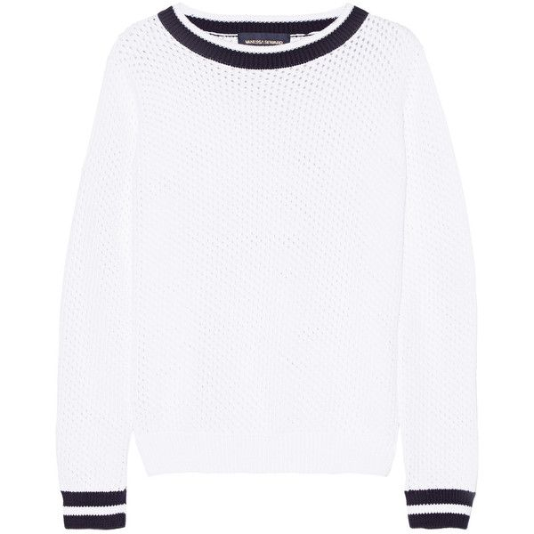 Vanessa Seward - Striped Open-knit Cotton Sweater ($137) ❤ liked on Polyvore