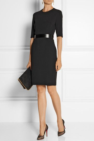 Elegant and simple. The shiny belt does all the work here. Emphasises the waist but still breaks up the black. Keep shoes, bag and hair simple too. A strong cuff would work if you want to add statement jewellery.
