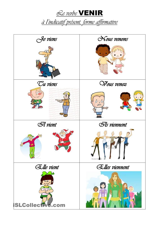 Le Verbe Venir L Education Francaise Verbes Francais Verbe