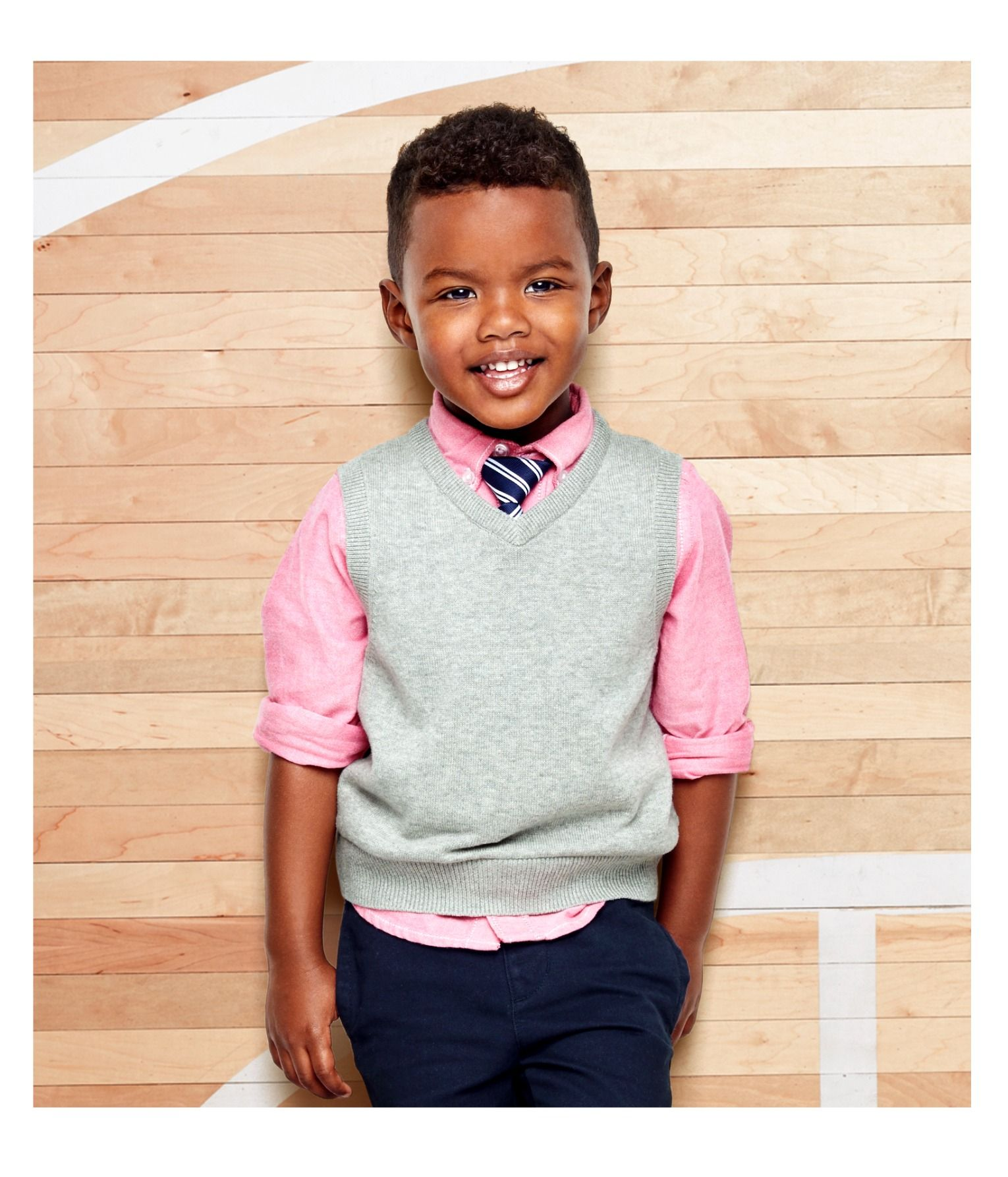 Kids Clothes Back To School Outfit Uniform Inspo First Day Of School Sweater Vest Button Down Top Tie Navy Chinos The Childrens Place