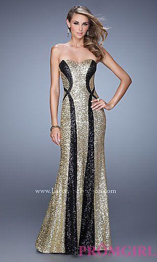 Floor Length Strapless Sweetheart Sequin La Femme Dress at PromGirl.com
