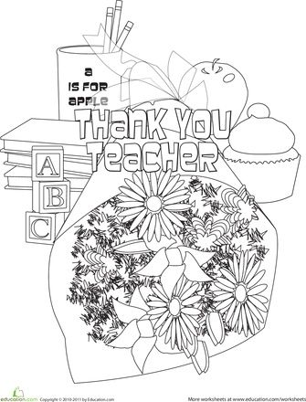 Thank You Teacher Coloring Page Teacher Picture School Teacher