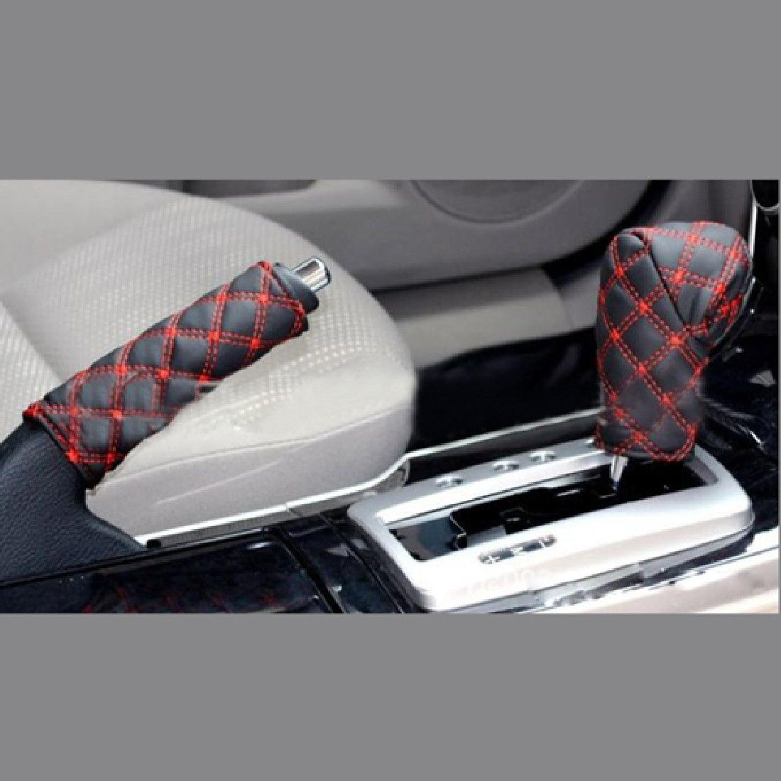 Set Auto Car Accessory Decoration Gear Set Hand Brake Covers Grid Microfiber