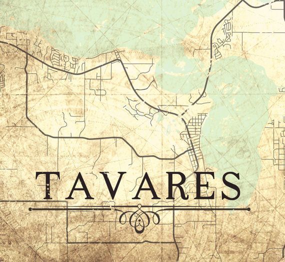 Tavares Florida Map.Tavares Fl Canvas Print Florida Fl Vintage Map Town Plan City Map