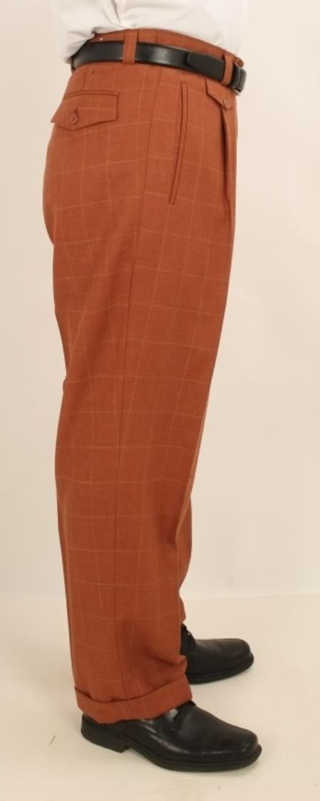 9e973225149a Men's Rust With Gold Windowpane Wide Leg Single Pleated Pants | Mens ...
