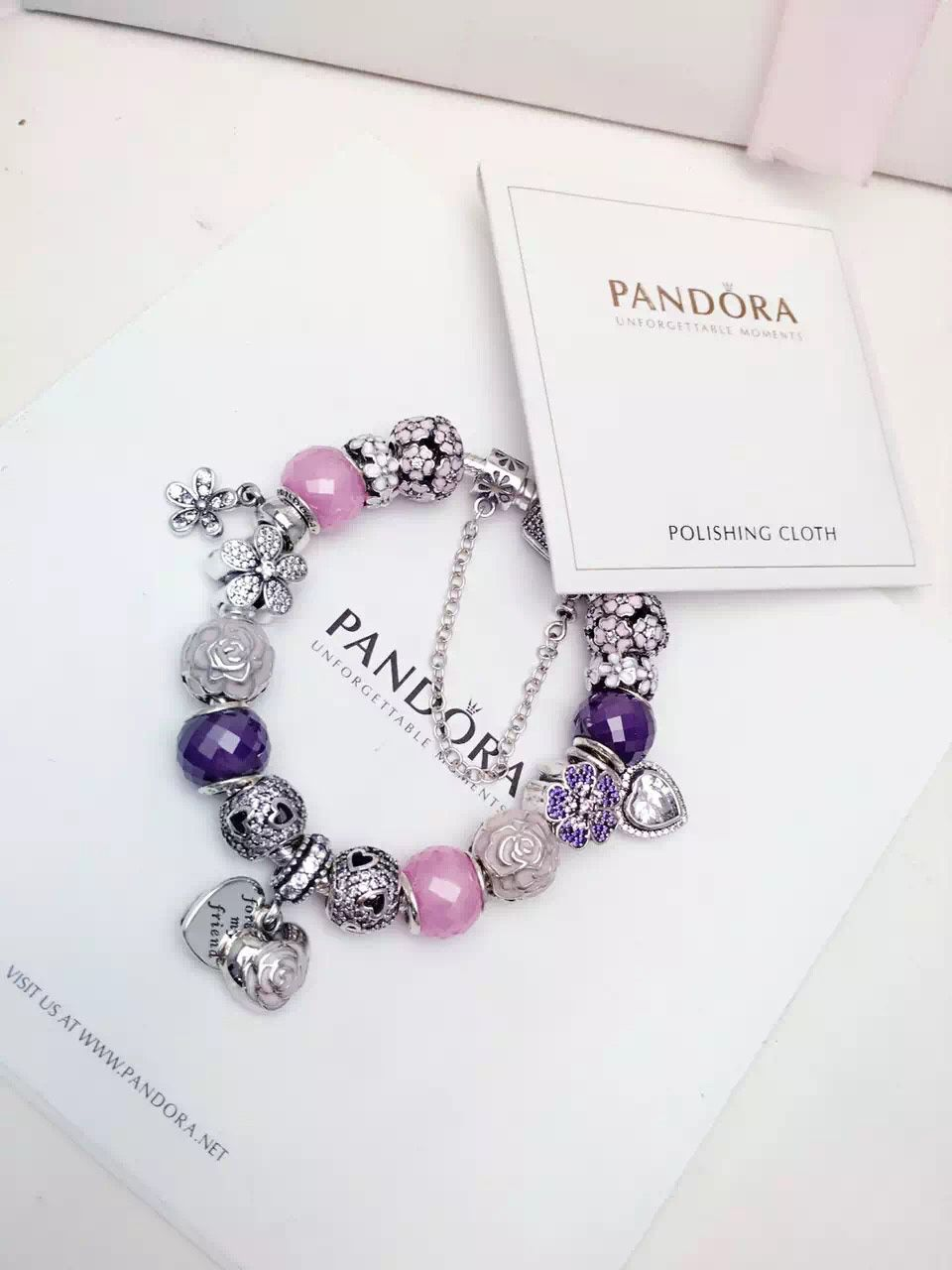 50% OFF!!! $419 Pandora Charm Bracelet Pink Purple White. Hot Sale!!! SKU: CB02079 - PANDORA Bracelet Ideas
