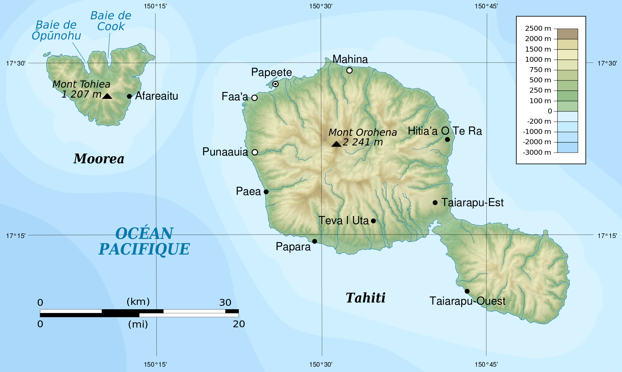 Map Of Tahiti and Moorea in French Polynesia | Pacific Ocean ... Phsical Map Of Tahiti on