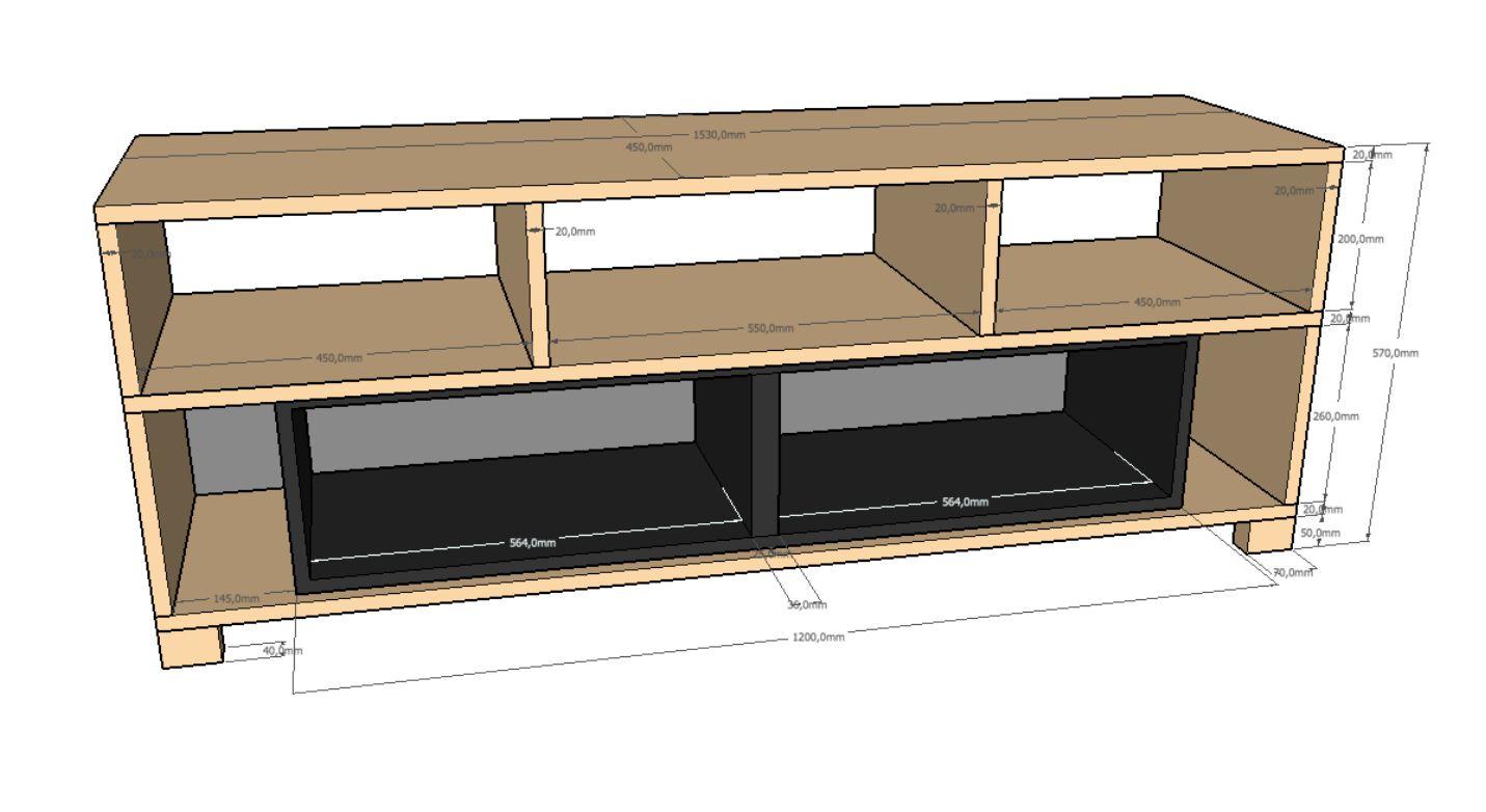 Plan De Fabrication D Un Meuble Tv Sur Mesure A Realiser Avec Les Panneaux En Bois Decoupes Sur Mesure De Laboutiqued Meuble Tv Bois Meuble Tv Plans De Meubles