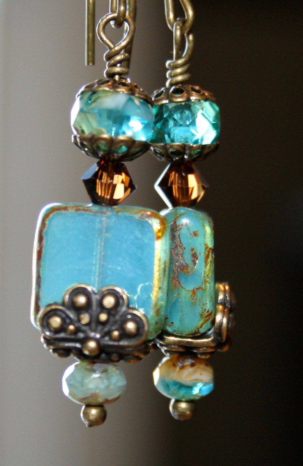 Aqua Picasso earrings Picasso bead earrings by CharmingLifeJewelry