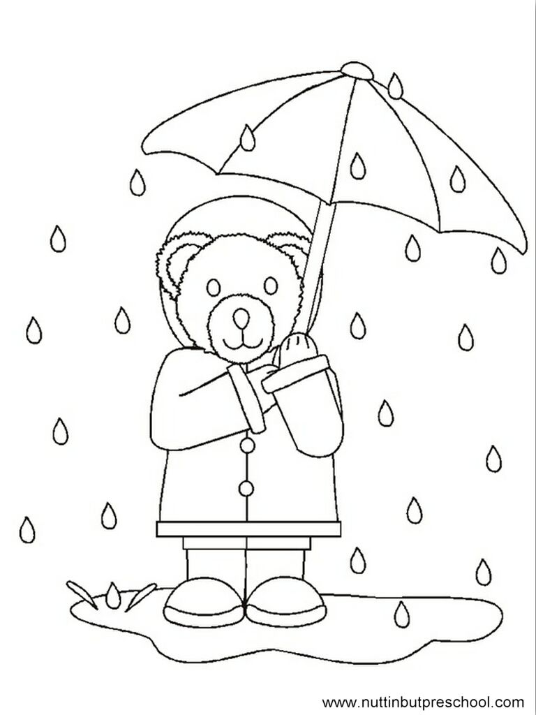 Colouring pages rain - Rain Bear Coloring Page Offered On Nuttin But Preschool As A Free Printable For Kids