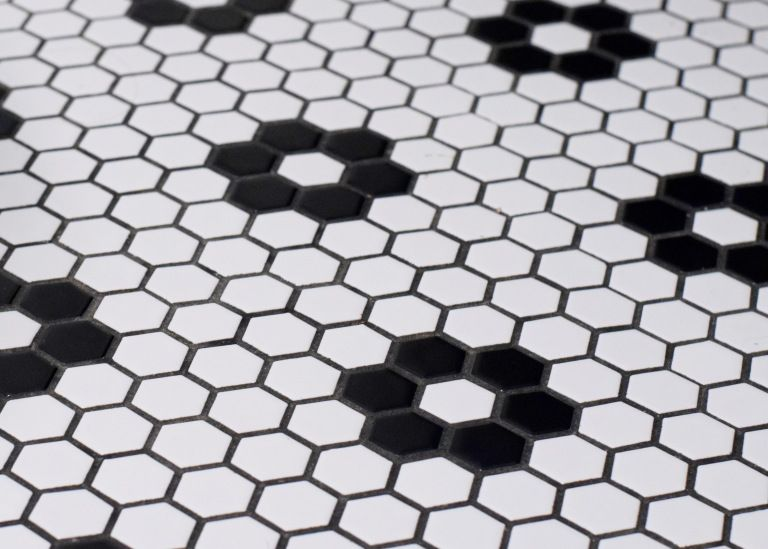 Land Of Laurel Black And White 1 Hex Tile With Black Grout Black Grout Black And White Bathroom Floor Black Bathroom