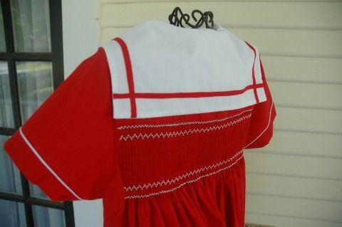 "Made by Linda Regan Creamer.  Back view of sailor dress. Plate ""Weigh Anchor"" by Angel Wears."