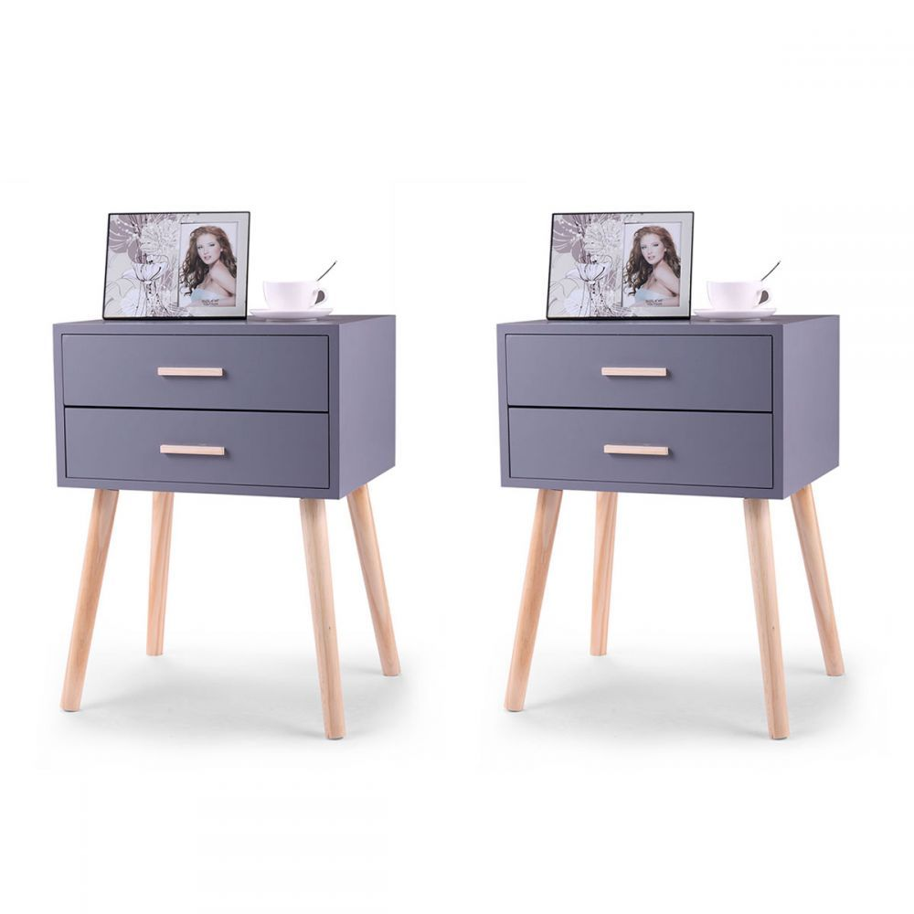Minimalist Two Drawer Nightstand With Wooden Legs Set Of Two Wooden Nightstand Nightstand Storage Simple Nightstand Set of two night stands