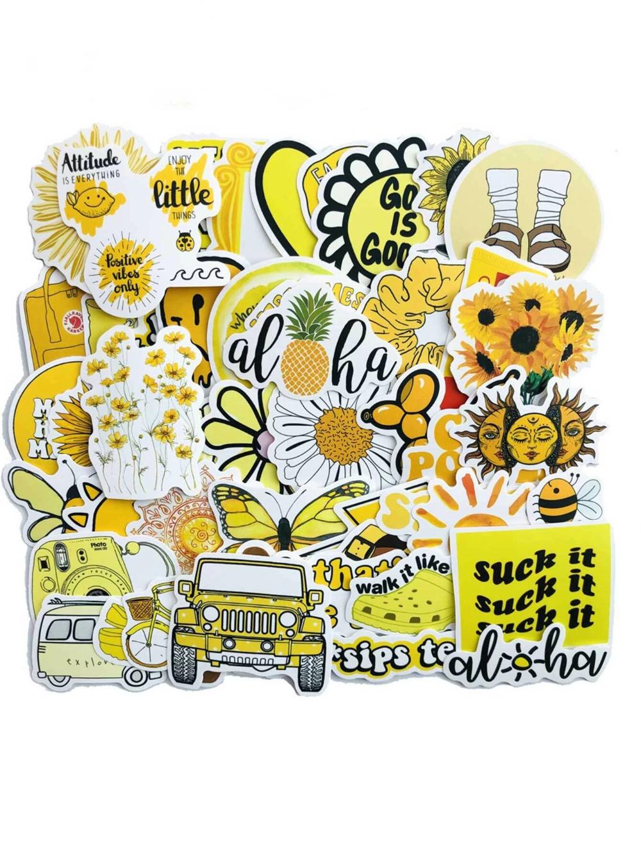 50pcs Flower Print Sticker Shein Usa In 2020 Print Stickers Flower Prints Print