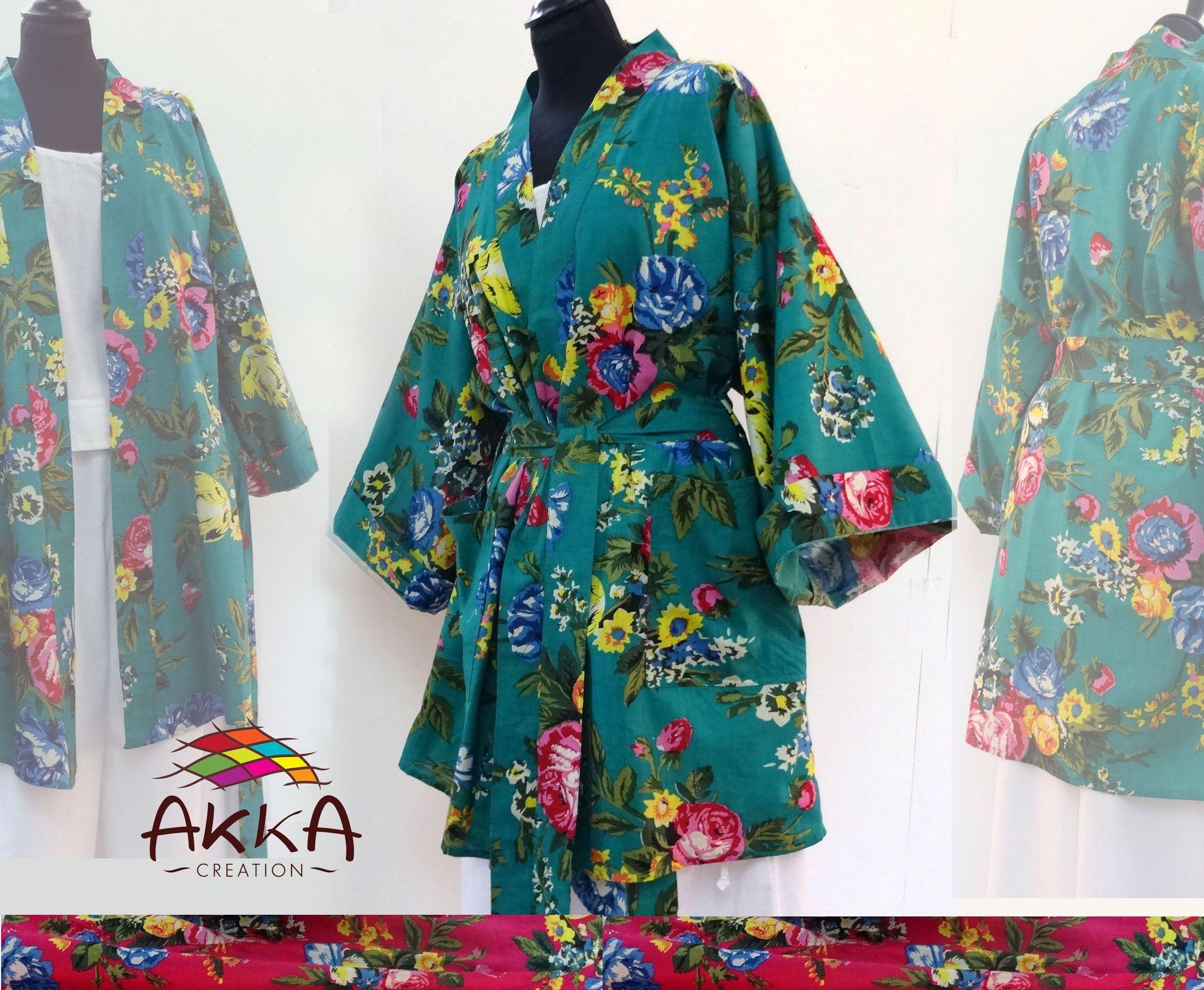Kimono dressing gown short green flowers cotton shalimar water jpg  2176x1790 Short green kimono 10def77c0