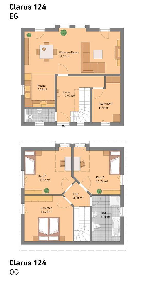 Unser Clarus hat 124 m2 und wird in Massivbauweise hergestellt - plan petite maison 70 m2
