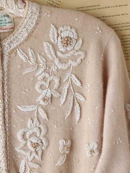 beaded pink cardigan