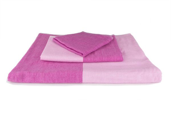 Two Tone Chambray Towel, Pink 2