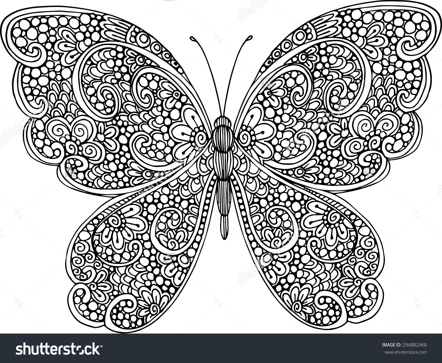 Hand Drawn Ornamental Butterfly Outline Illustration With Decorative Ornaments Butterfly Coloring Page Mandala Coloring Pages Pattern Coloring Pages