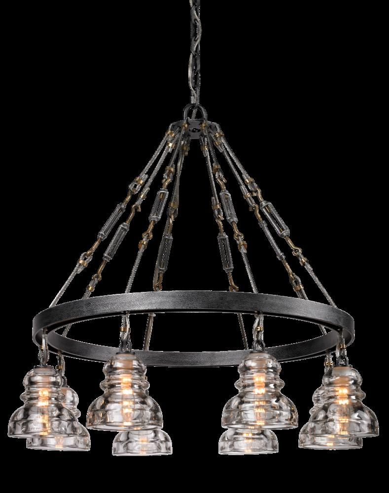 Eight Light Old Silver Down Chandelier