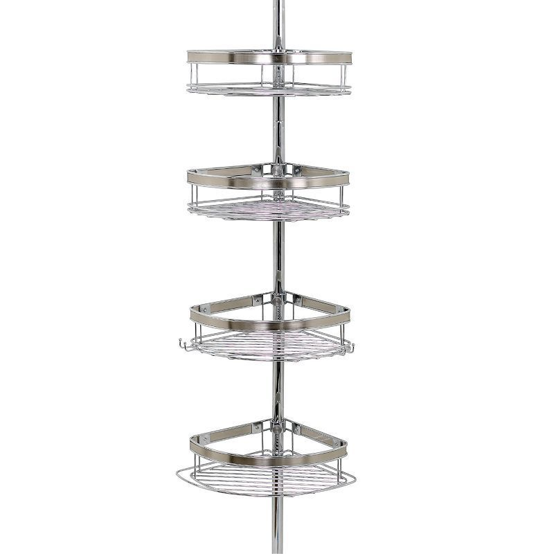 Zenith 4 Tier Brushed Nickel Finish Pole Shower Organizer Grey