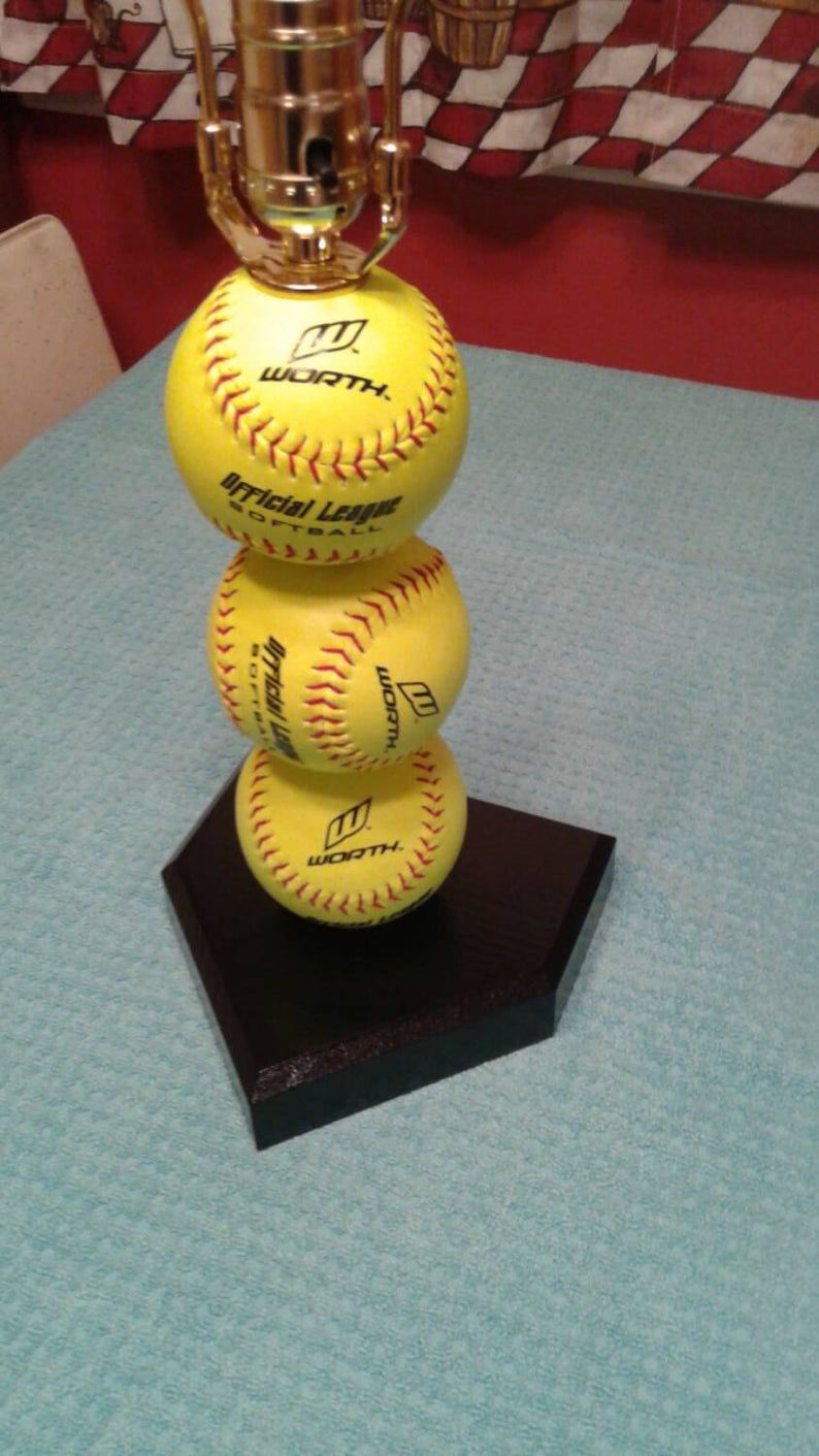Softball Lamp Made With Real Softballs Yellow Balls Etsy Baseball Lamp Softball Stain Colors