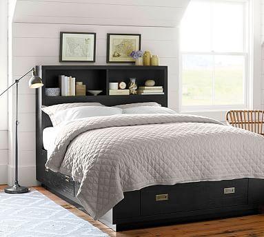 Reynolds Storage Platform Bed Amp Headboard Potterybarn In