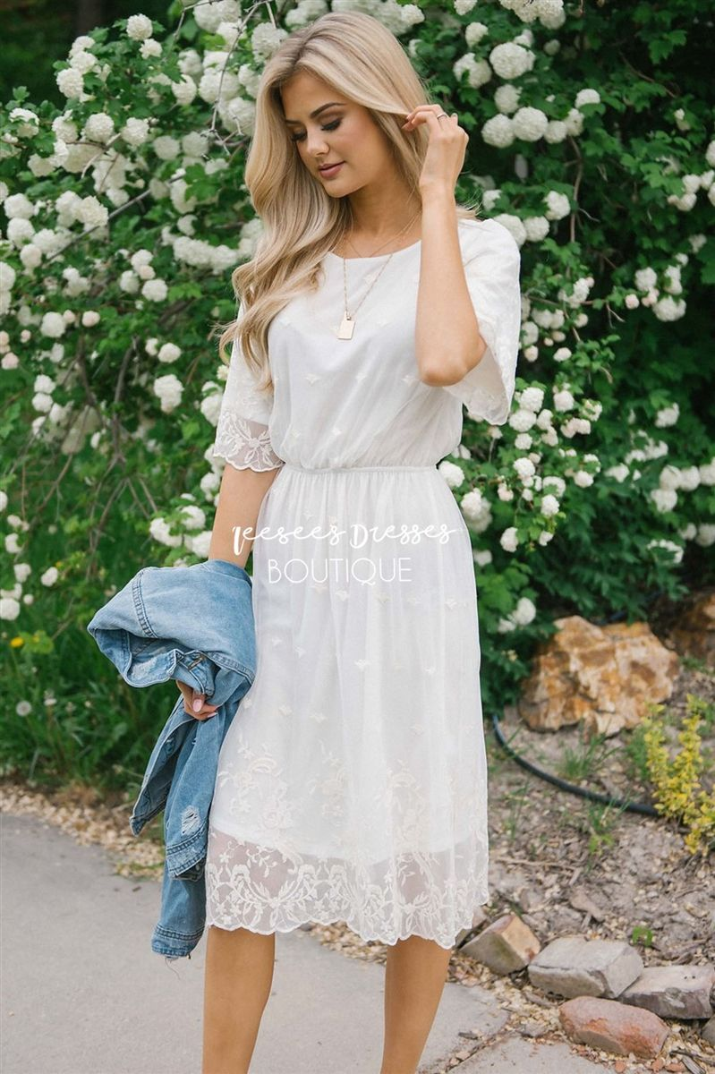 038094bde7b6 Ivory Lace Overlay Sundress Modest Dress | Best Online Modest Boutique for  Dresses | Cute Modest Clothes for Church