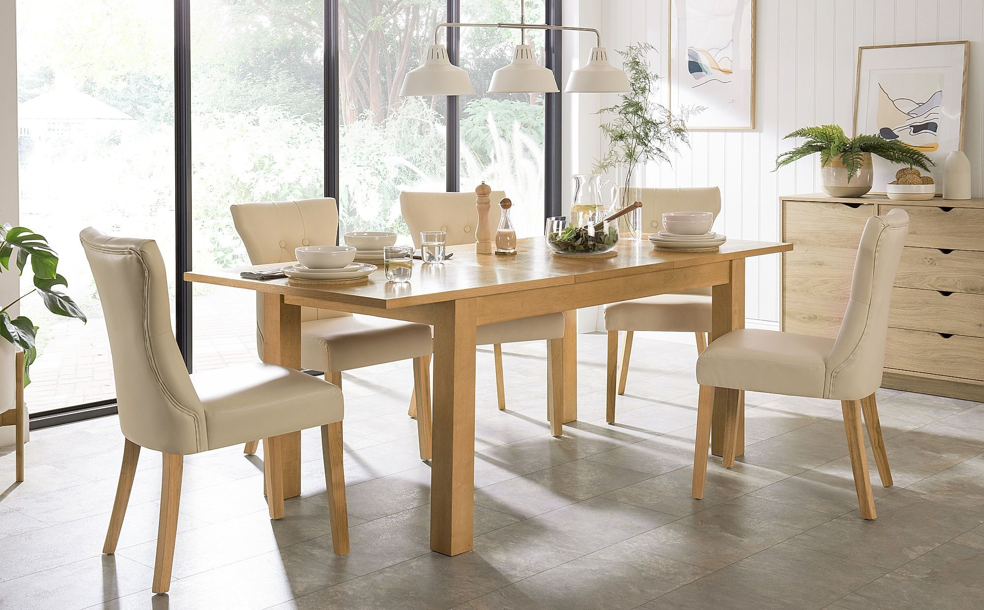 Hamilton 150 200cm Oak Extending Dining Table With 6 Bewley Ivory