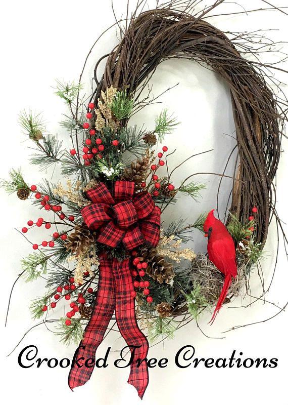 Photo of Cardinal Wreath, Christmas Wreath, Holiday Wreath, Holiday Door Decor, Christmas Door Decor, Cardinal, Winter Wreath, Woodland Wreath, Birch