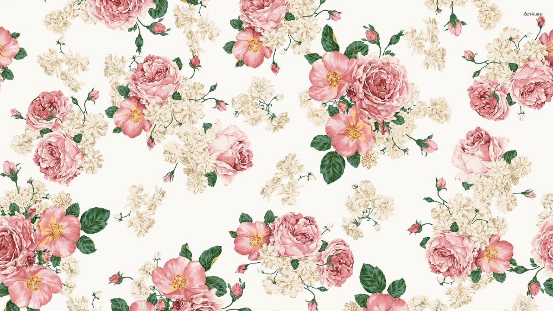 Shabby Chic Desktop Wallpaper Wallpaper Bunga Cetakan Bunga