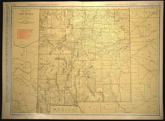 New Mexico Map EXTRA LARGE New Mexico Railroad Map Wall Art | Map ...