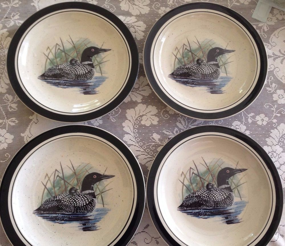 Folkcraft Duck Loon Lake Dinner Plates Excellent Condition set of 4 ...