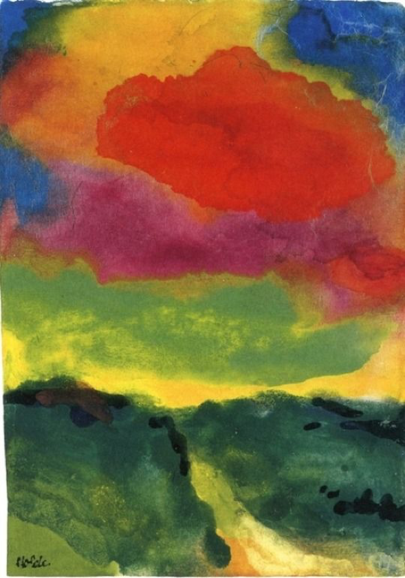 Emil Nolde Green Landscape with Red Cloud