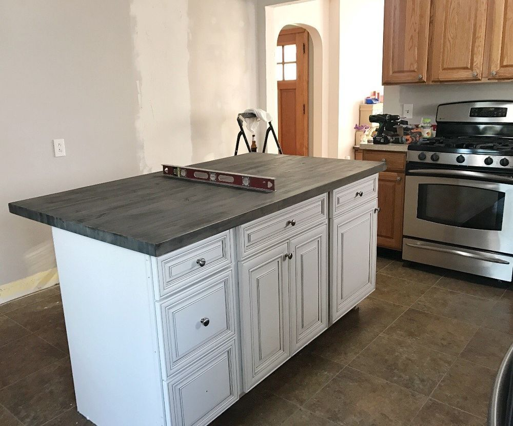 Diy Kitchen Island With Stock Cabinets Diy Kitchen Island Diy Kitchen Stock Cabinets