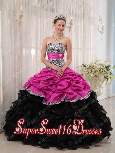 Ball Gown Belt Muti-color Ruffle Taffeta and Organza Sweet Sixteen ...