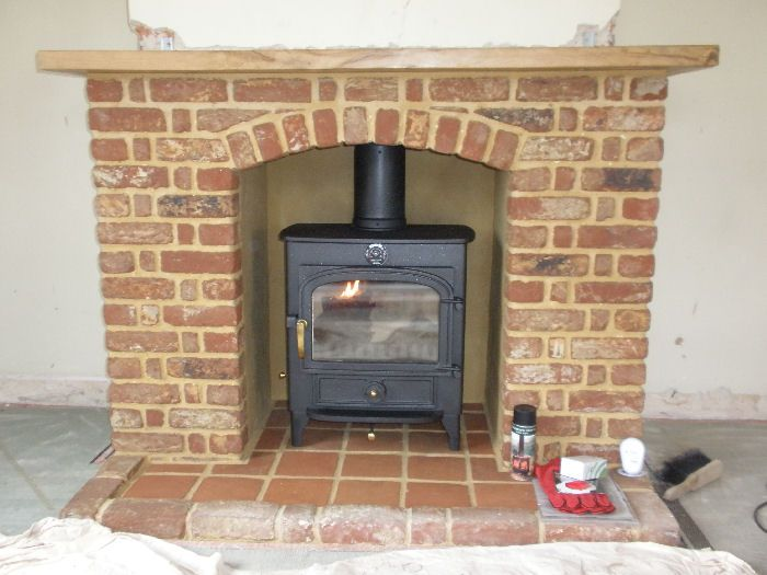 Clearview Vision Wood Burning Stove With Brick Arch Shelf