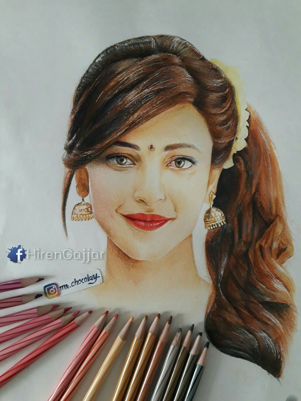 Realistic sketch of shruti hassan by hirengajjar also known as mr chocolaty