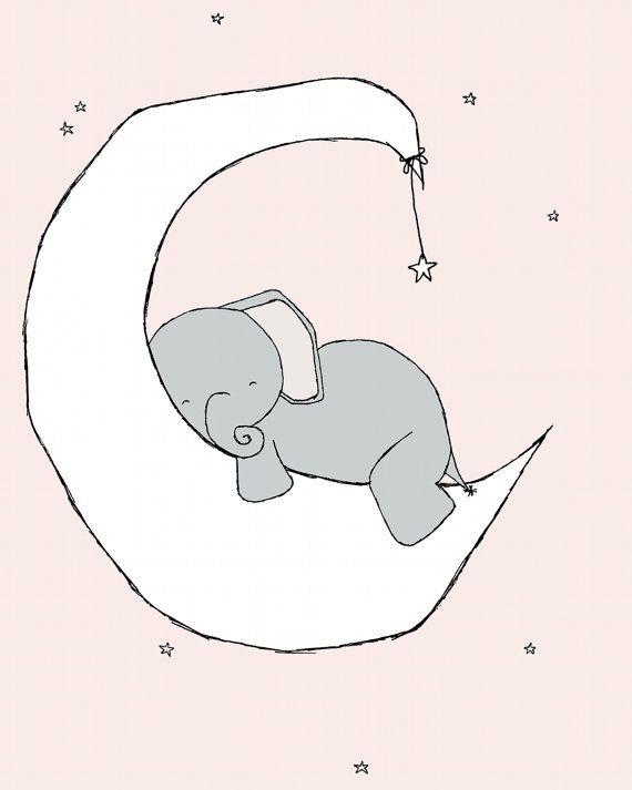 Elephant Nursery Art -- Pink Grey -- Nursery Decor, Elephant Art Print, Baby Elephant Moon and Stars Dream -- Children -- Kids Wall Art
