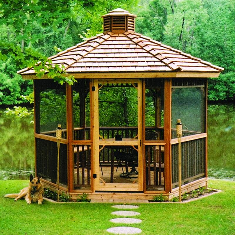 Screened Gazebo Hexagon Cedar Gazebo Kit 8ft Id Csi W86 Backyard Gazebo Hexagon Gazebo Garden Gazebo