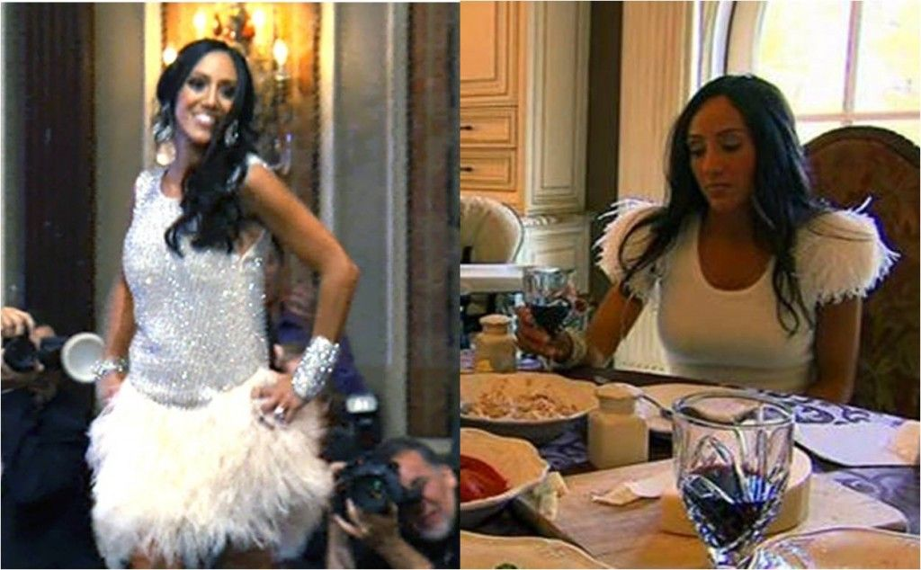 Fluffy white ostrichfeathers can make jersey girl Melissa Gorga go glam!