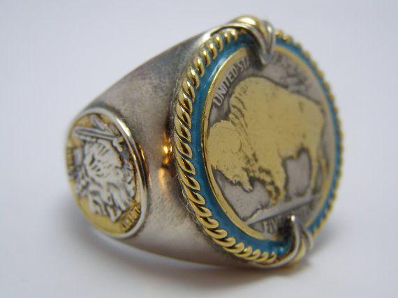 Silver 24k Gold 1923 Us Buffalo Indian Head Nickel Biker Ring Honoring The American West Men S Ring Rings For Men Rings Silver