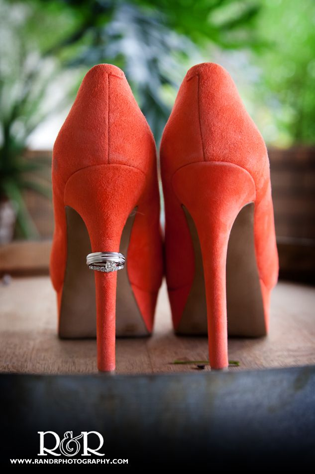 Orange suede shows to show off the wedding rings | #orange #heels #wedding #ring #colored #shoes #photography #cute #ideas