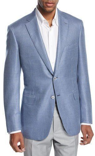 Brioni Check Wool-Silk Two-Button Sport Coat Blue/White by Brioni  Brioni Check Wool-Silk Two-Button Sport Coat Blue/White by Brioni  Available Colors: BLUE  Available Sizes: 48L 42S 44R 42R 40R 46R 48R 46L 50R  DetailsBrioni sport coat in check jacquard. Notch lapel; two-button front. Basted sleeves. Welt pocket at chest. Flap pockets at hips. Double-vented back. Wool/silk. Handmade in Italy.