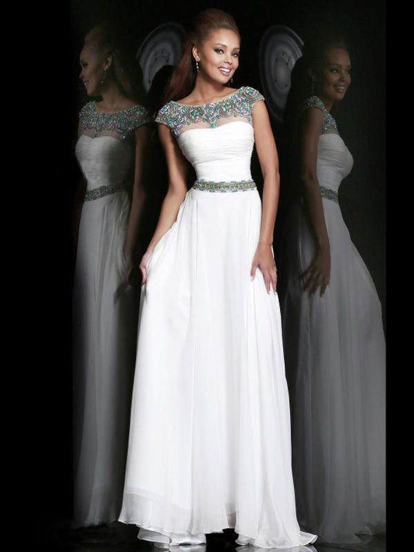 A-line+Scoop+Short+Chiffon+White+Prom+Dresses/Evening+Dress+With+ ...