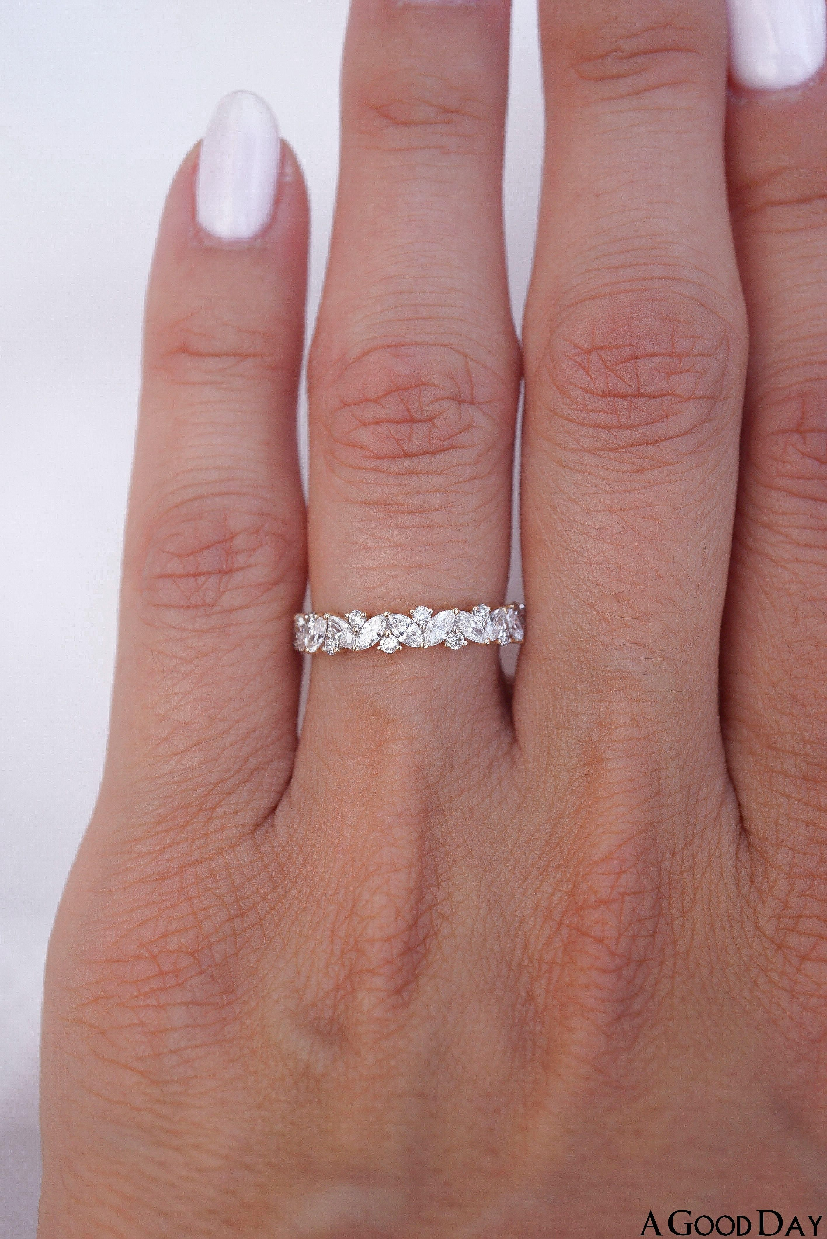 Solitaire Bridal Ring Set  Round Moissanite Wedding Ring Set  Half Eternity Matching Band  Gold Ring Set For Women  1st Anniversary Gift