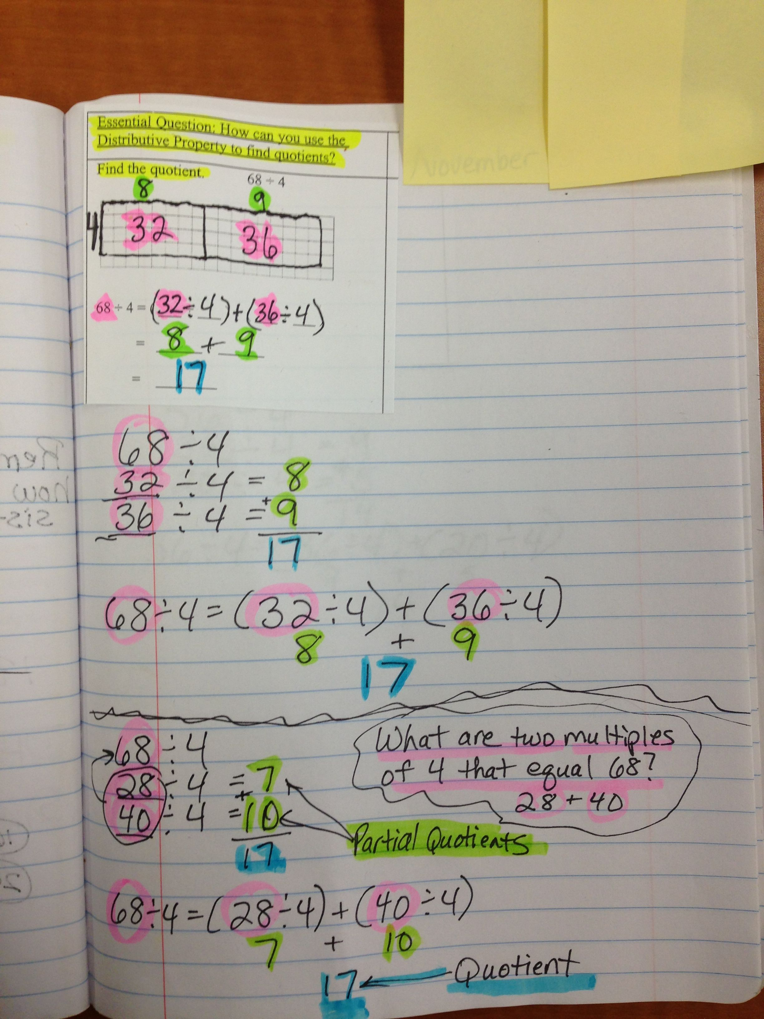 Math Journal Page Using The Distributive Property To Find Quotients Division