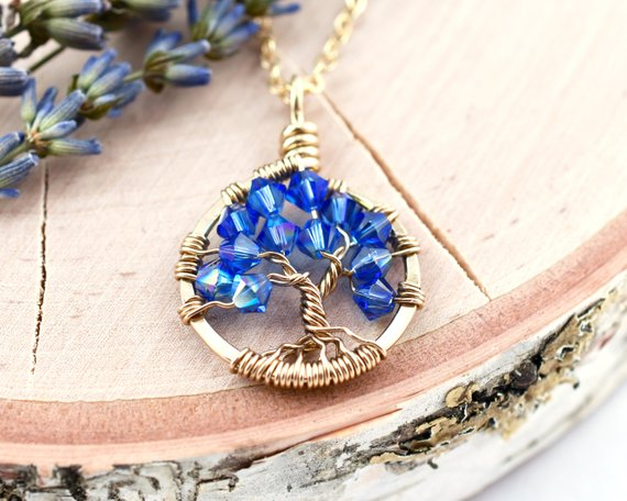 Gold Sapphire Necklace, Blue Tree of Life Pendant, 14k Yellow Gold Tree Necklace, September Birthsto