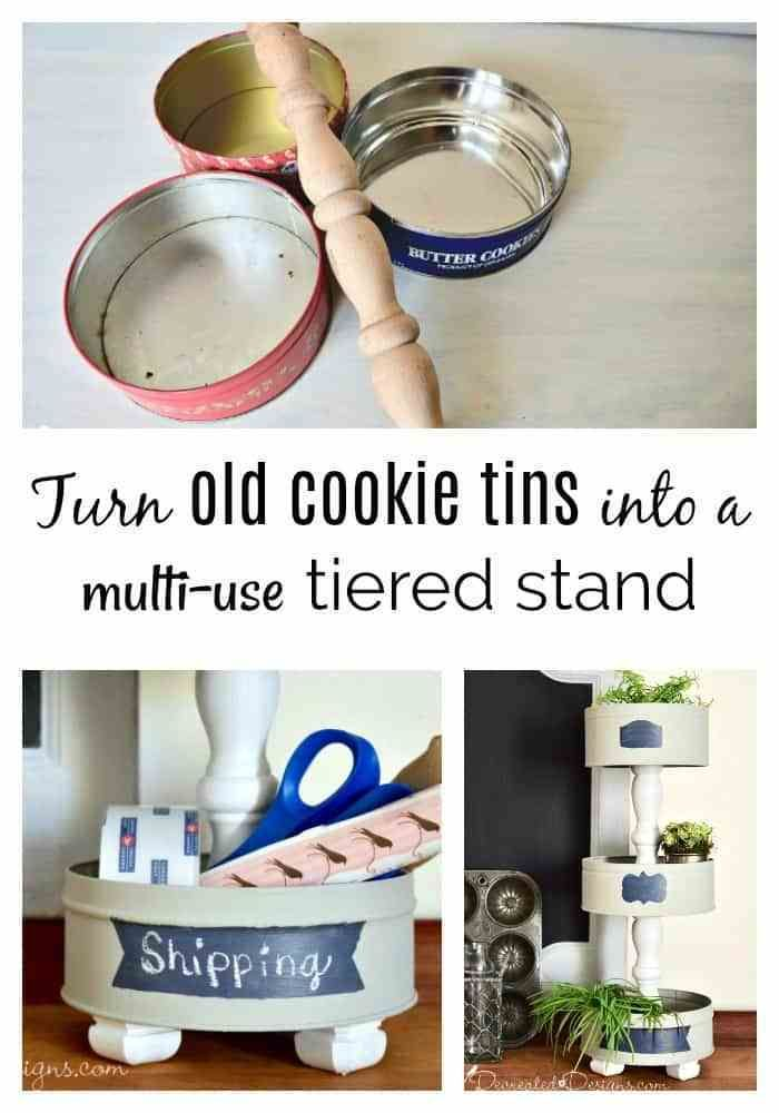 Photo of turn-old-cookie-christmas-tins-ucpycled-diy-tiered-stand-recreateddesigns – Recreated Designs