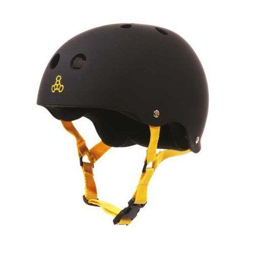 Large Triple Eight Skater Brainsaver Helmet w// Sweatsaver Liner Black Rubber